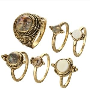 Jewelry - 🌛Waterdrop Cobblestone 6 Piece knuckle Ring Set